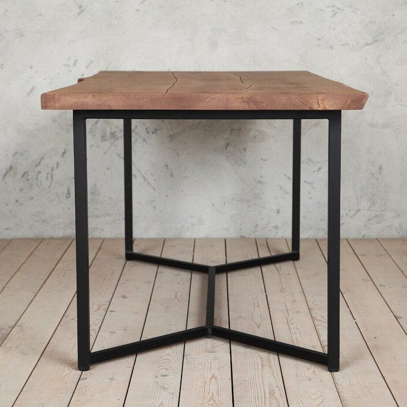 Лондон Твердого Живого Край Natural Brown Oak Промышленного Обеденный стол Деревянная Сельская исправленная Урожай