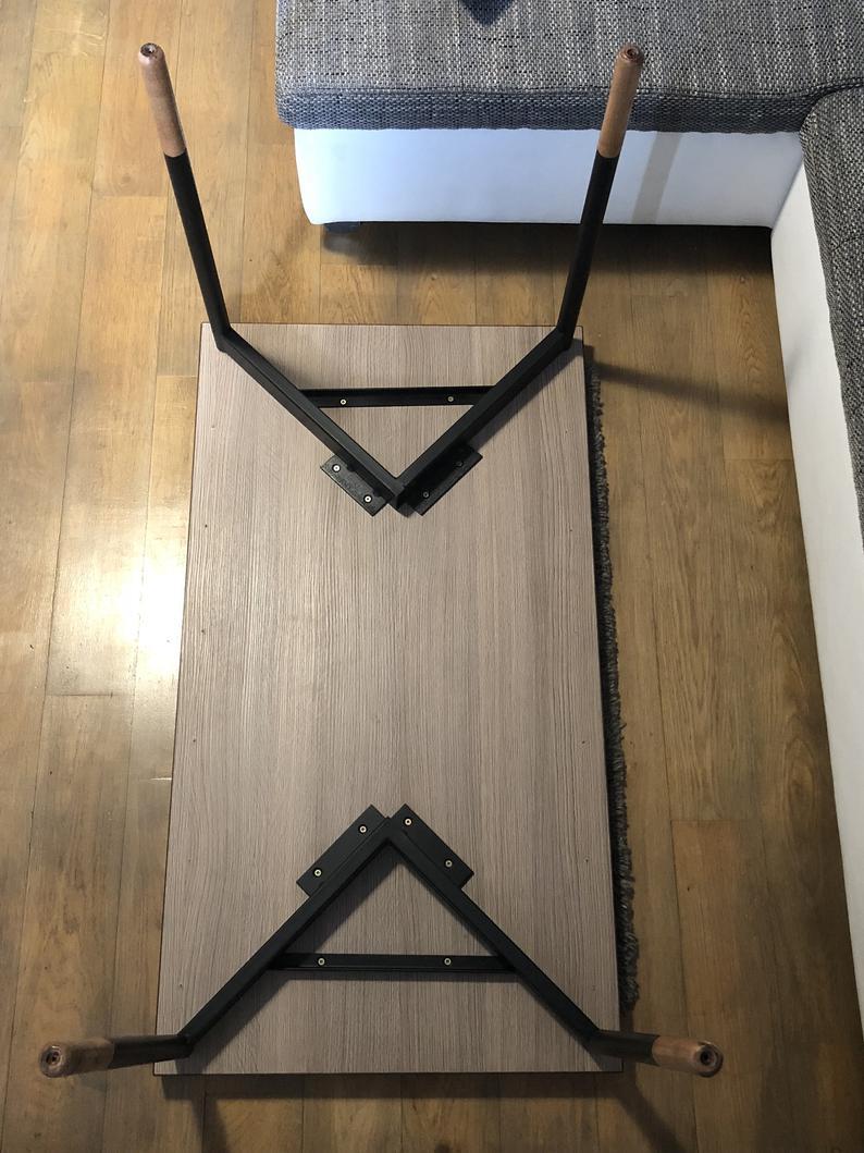 Роскошные уникальные ножки из металла и дерева, промышленные ножки, набор из 2 ножек, основание журнального столика, ножки из стали и дуба
