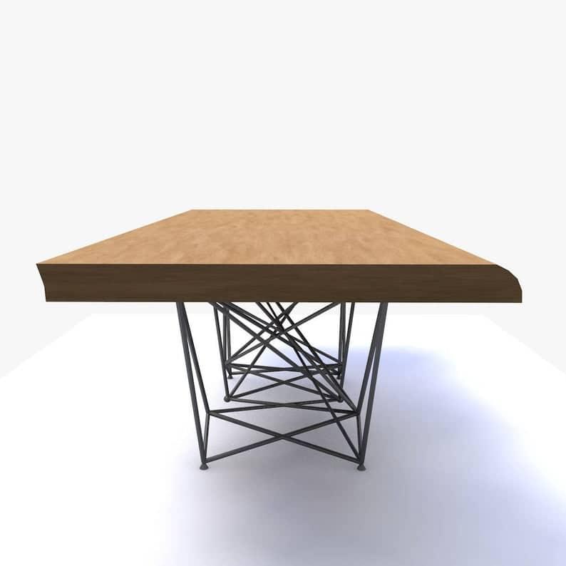 Мэддокс - Обеденный стол - Шпон или массива дерева (дуб, сосна, орех) - Металлические проволочные ноги