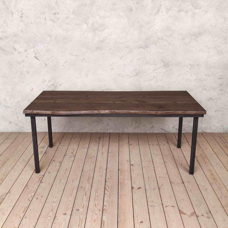 Marlow Живых Пограничного Дуб Промышленные Обеденный стол Деревянная Сельская исправленная Урожай