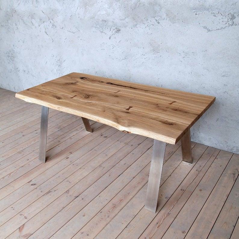 Marta из нержавеющей стали фасонных Живого Пограничного Дуба расшитого деревянного стол Сельского мелиорированных Vintage