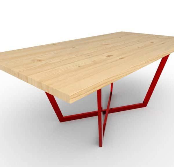 Максим - Обеденный стол - Шпон или массива дерева (дуб, сосна, орех) - Металлические цветные ноги
