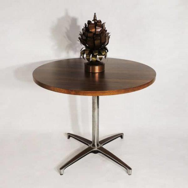 MCM Эра Chromcraft Приписываемые Круглый Шпонированная Top Metal Wood Accent Base кофе обеденный стол