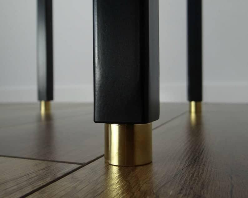 Металлические ножки для маленьких столов 28 & quot;высоко.Медные окончания.Промышленные ножки стола.Сталь, железо середина века современные ножки стола
