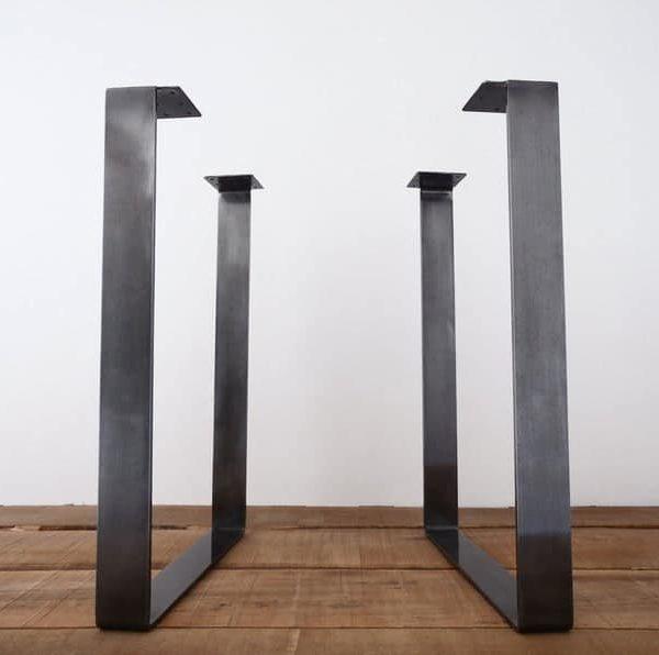 """Металлические ножки обеденного стола, 28 """"x 20""""Плоские стальные ножки стола, высота 26 """"До 32 & quot;Набор (2)"""