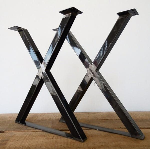 """Металлические ножки обеденного стола, 28 & quot;Ножки стола X-frame, 24 """"Ширина основания, высота 26 & quot;До 32 """"Набор (2)"""