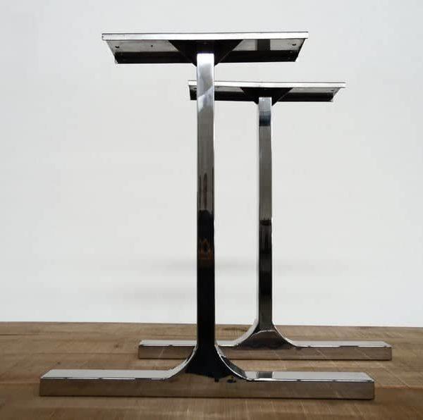 """Металлические ножки стола, 28 """"BESIK - Ножки столешницы из нержавеющей стали, 24 дюймаШирина основания, высота 26 """"- 32 & quot;Набор (2)"""
