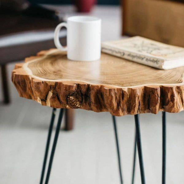 Середина века журнальный столик Rustic Wood Slab Кофейный столик, Современные Шпилька Ноги Журнальный столик, акация
