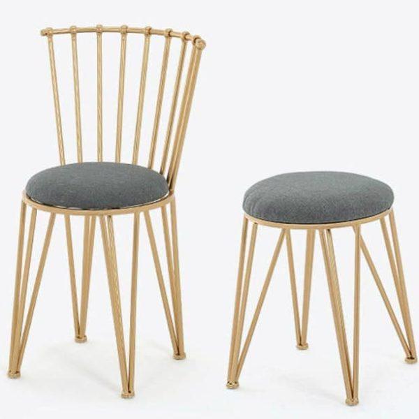 Современный Металлический стул, пуф с металлическими ножками, LOFT Стул с мягким сиденьем, Металлическая мебель