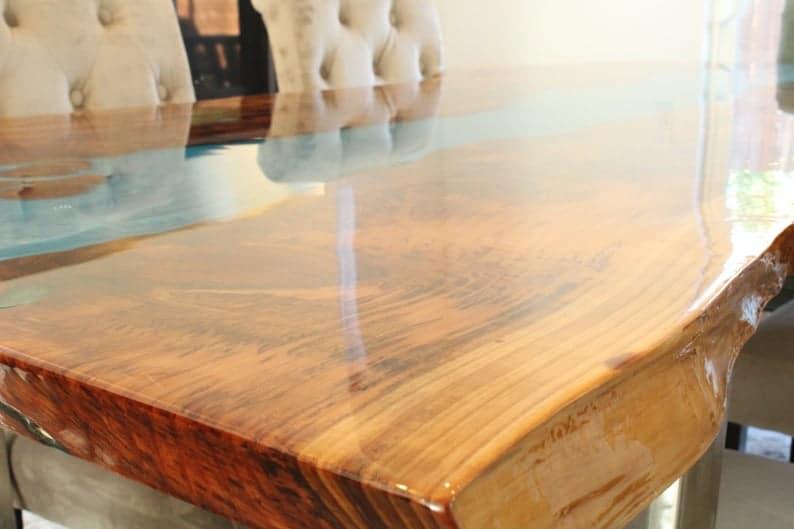Современного Дуб эпоксидных рек Вуд стол с Стеллами Металлических ножек