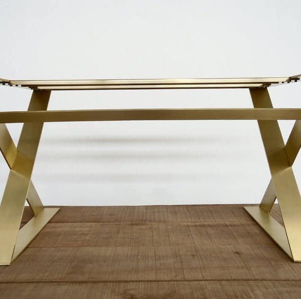 """Современная твердая латунная золотая основа для обеденного стола, 28 дюймов;НХ 24 """"W - Apart 42 & quot;Плоская латунная подставка для стола X-Frame, высота 26 & quot;До 32 """""""
