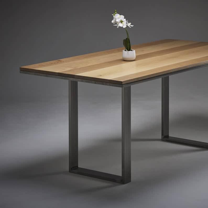 Oak Industrial обеденного стола с выбором металлических ножек - MADE IN ENGLAND