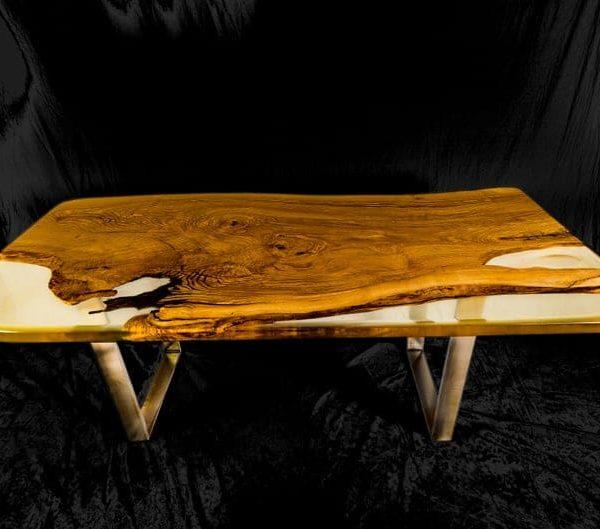 Одна часть живой край эпоксидная ясень обеденный стол