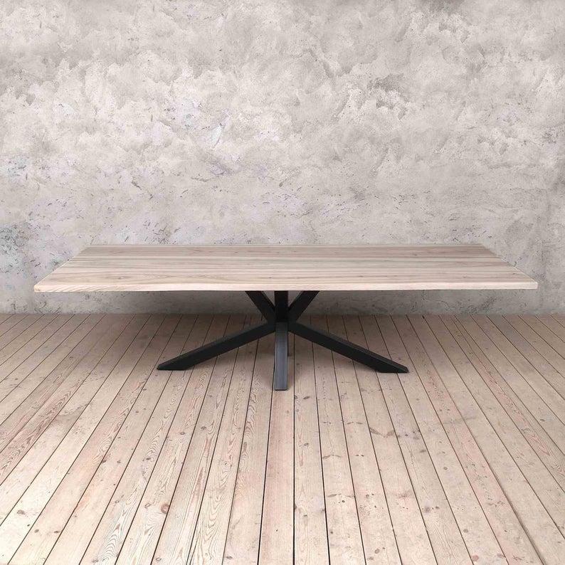 Pearl Solid Light Ash Industrial Обеденный стол с ногами Матовый черный паук