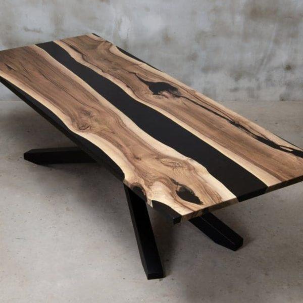 Персонализированный живой край стол сделан из европейского ореха, черный стол смолы с металлической ножкой, уникальным эпоксидным столом, конференц-стол для офиса