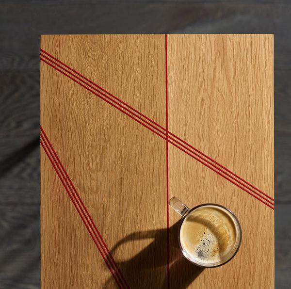 Red Oak Inlay Шпилька стол - яркий дизайн
