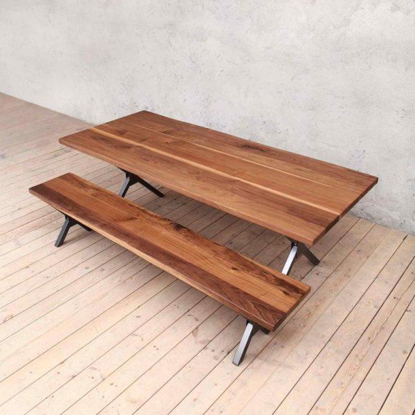 Ричмонд Живая Пограничный Промышленный Стиль Деревянные Walnut сталь Обеденный стол X Фасонные Ноги Деревенское ретро