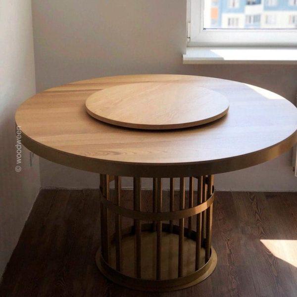 Круглый обеденный стол, обеденный стол, ясень столешница, золотой металл ножки стола, орех, дуб, современный промышленный дизайн, скамейка ноги, порошковое покрытие