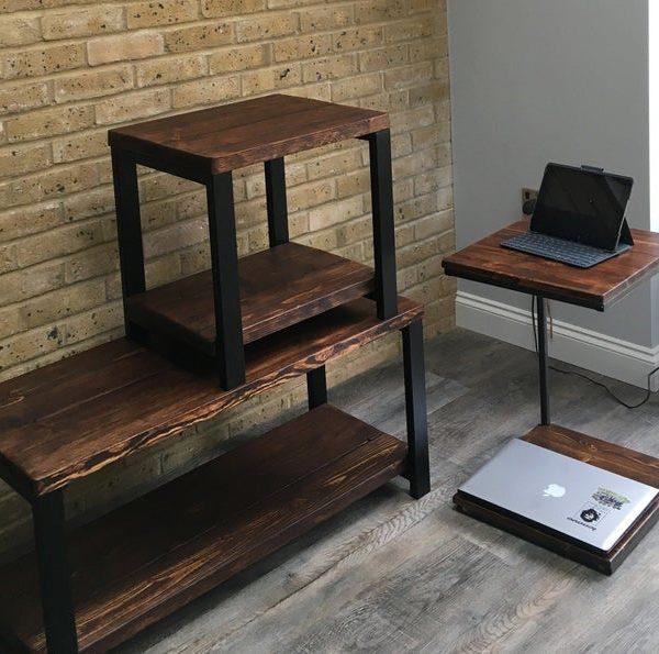Деревенский, телевизор, журнальный столик, хранение, мелиорированное дерево, металлические ножки