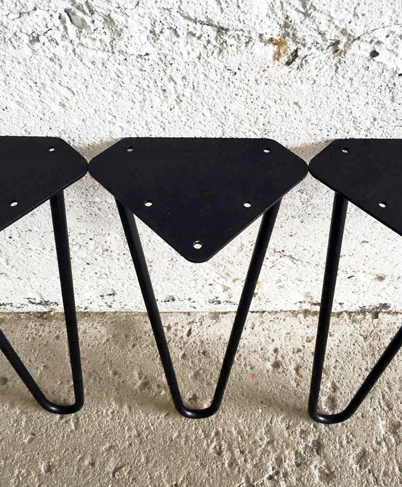 Набор из 4 черных шпилек-ножек для стола с порошковым покрытием