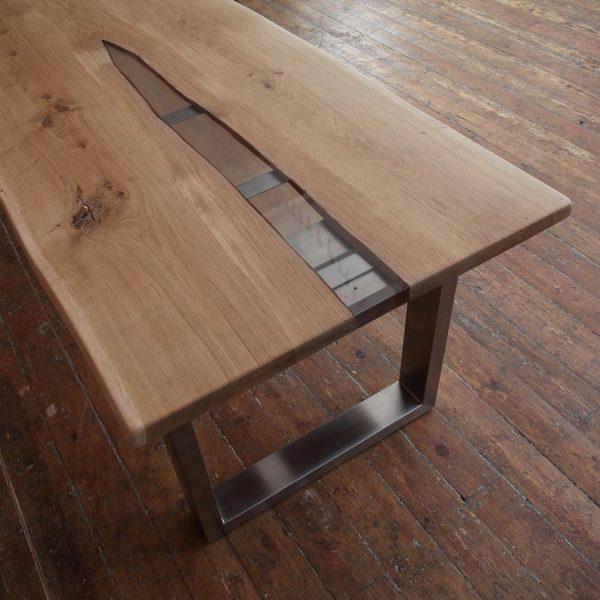 Silver River Epoxy Resin Обеденный стол с U образной из нержавеющей стали Ножки