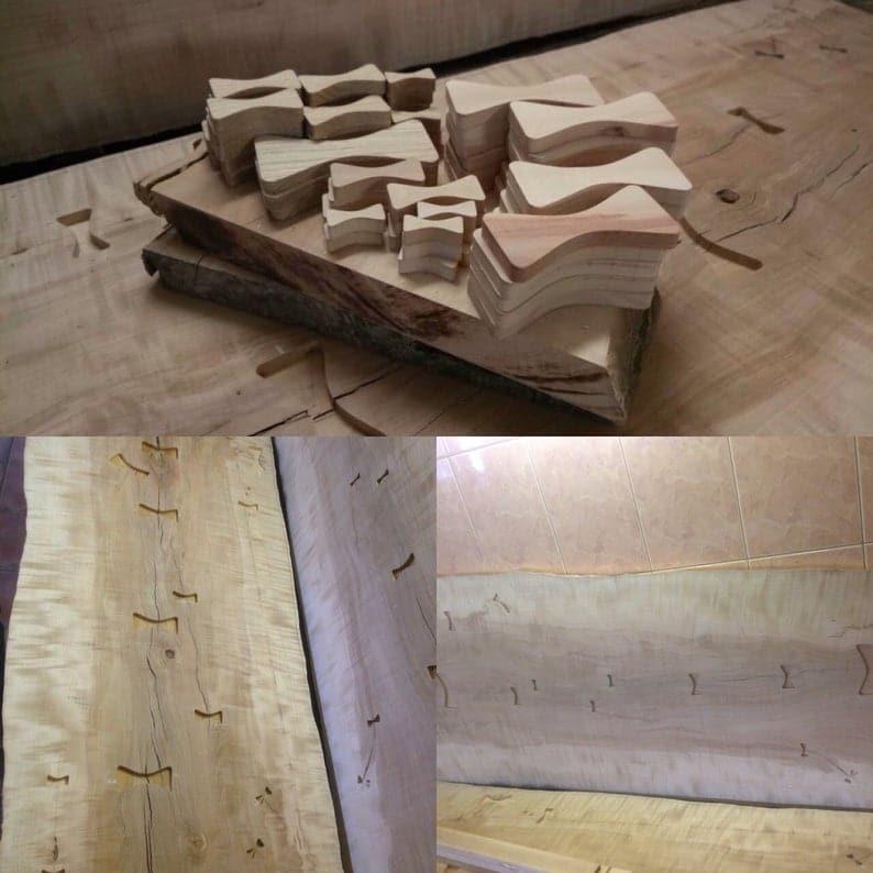 Продан! Живой край груша дерево стол с светятся в темноте Лихтенберг фигура зеленой инкрустацией смолы, лук-связей инкрустации & & Quot Накашима стиле & Quot деревянные ножки.