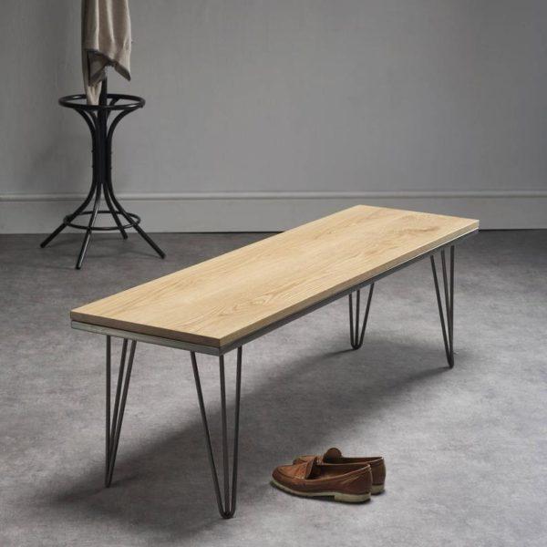 Твердая английский Дуб Bench - Шпилька ноги / Промышленные стальные ножки - Matching обеденный стол в наличии!