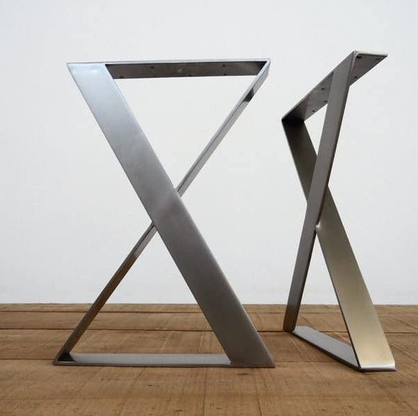 """Ноги обеденного стола из нержавеющей стали, 28 & quot;H x 24 """"W X-Frame Широкие плоские ножки стола, высота 26 & quot;-30 & Quot;, SET (2)"""
