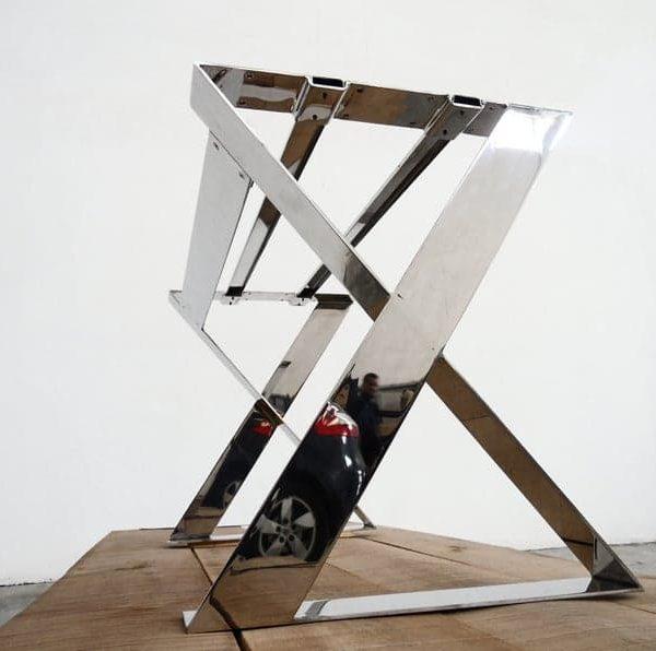 """Современная длинная основа из нержавеющей стали, 28 & quot;H x 24 """"Ш х 52 """"L X-рамка Широкая плоская ножка стола, высота 26 & quot;- 32 & quot;"""