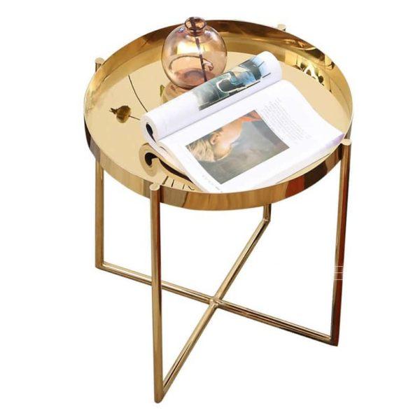 Нержавеющая сталь Приставной стол с Сияющий Глянцевая золото или серебро Угловое круглый металлический стол, современный дизайн