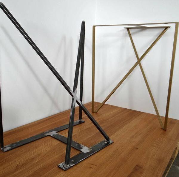 Стальные ножки для обеденного стола.Металлические ножки стола (набор из 2).Железные ножки стола для мелиорированной древесины.Современные ножки стола