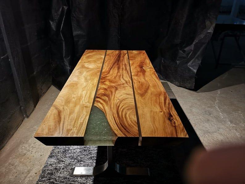 Straight Cut Обеденный стол из нержавеющей стали с металлическими ножками | Acacia Wood Table, исправленная Вуд стол, Живая Гурт Ферма Обеденный стол