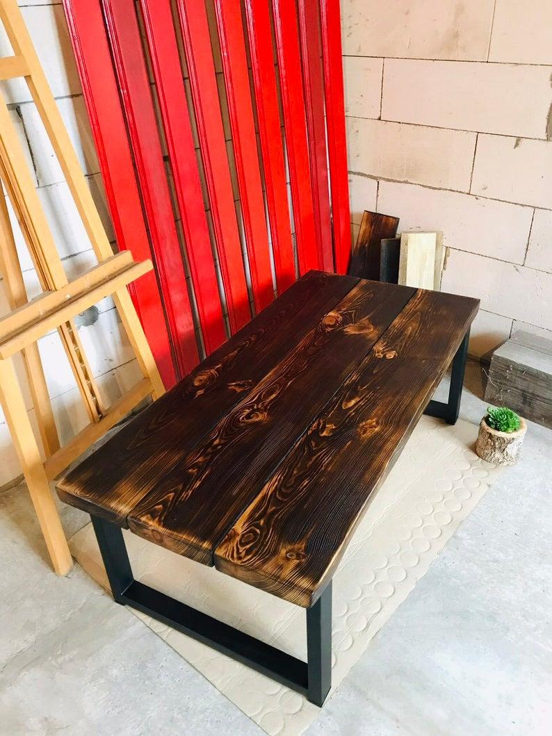 Таблица Loft Wood Сожженный Журнальный столик металлические стальные ножки
