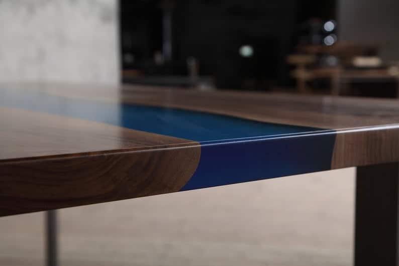 Thames Синий Epoxy Resin реки Обеденный стол с U образный стальной Ножки