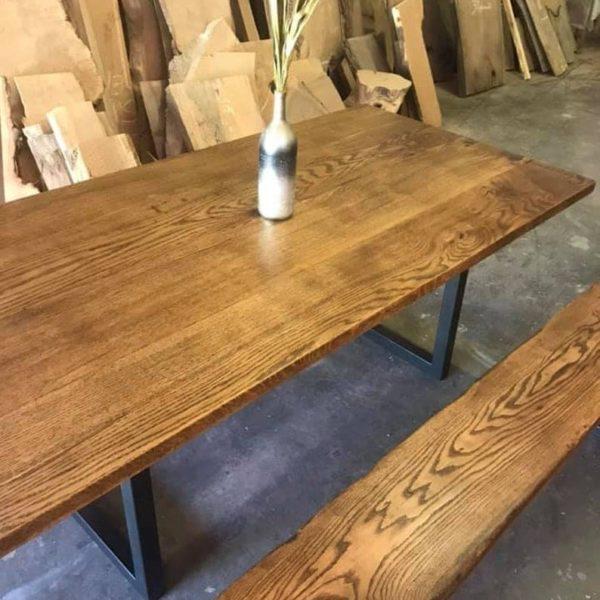 Современный стиль твердый каштан дубовый стол Классический дубово с металлическими ножками