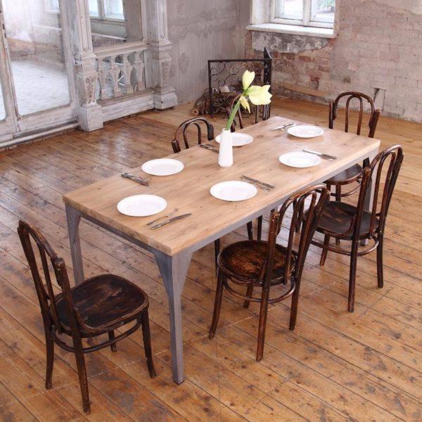 Железный Contemporary Pine Wood СТАЛЕПРОМЫШЛЕННЫЙ Обеденный стол исправленный Сельский Дом
