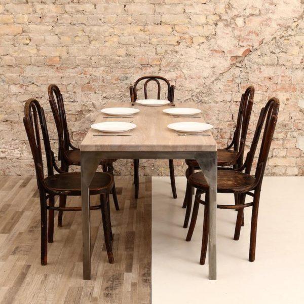 Обеденный стол Железного Contemporary Дуб СТАЛЕПРОМЫШЛЕННОЙ Деревянный исправленного Сельский Дом