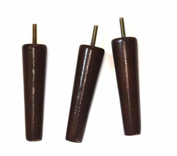 Три 6 & Quot Vintage Wood Мебель Ноги | Середина века | Конический | Таблица частей | с металлическими Слайдами