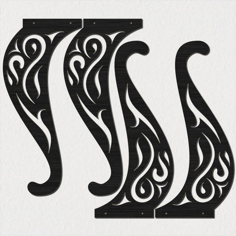 Традиционный стиль Простая и декоративные прокрутки Нога таблица-DXF файлов вырезать готовую для станков с ЧПУ, лазерной резки и плазменной резки