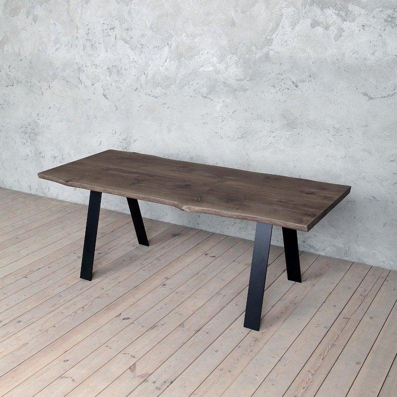 Трент Живая Пограничный Дуб Промышленные Обеденный стол с Стиль Стальные ноги Деревянные Сельский исправленная Урожай