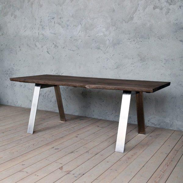 Трент Живая Пограничный Дуб Промышленные Обеденный стол с Стиль нержавеющей стали Ножки деревянные Сельский исправленная Урожай