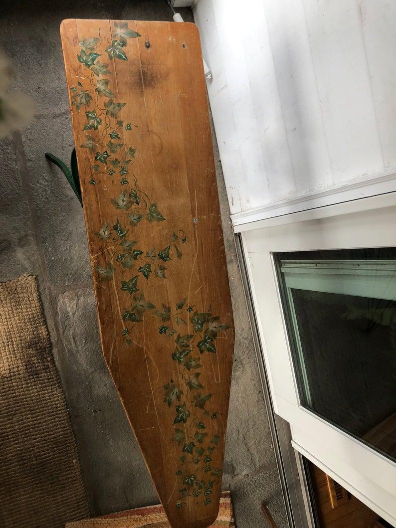 Урожай ручной росписью зеленые листья плюща дерева гладильная доска антикварных растения отображать enterway мебель уникальные антикварные металлические ножки деревянные настольные