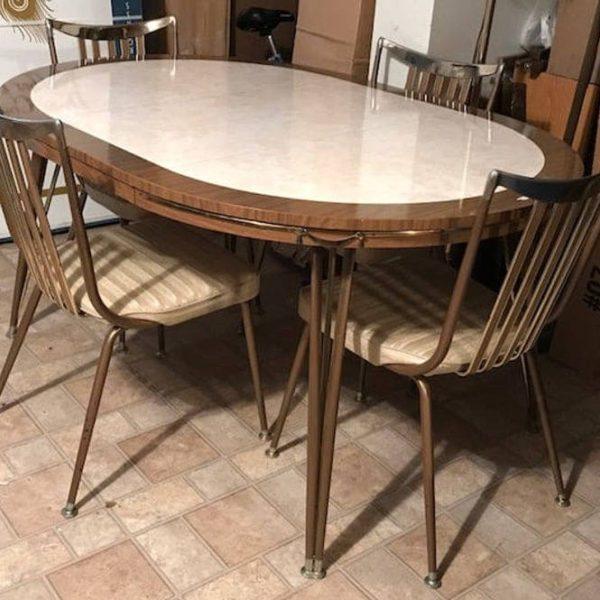 Урожай середине века стол стул комплект винил металла колышек ноги Daystrom формика ретро