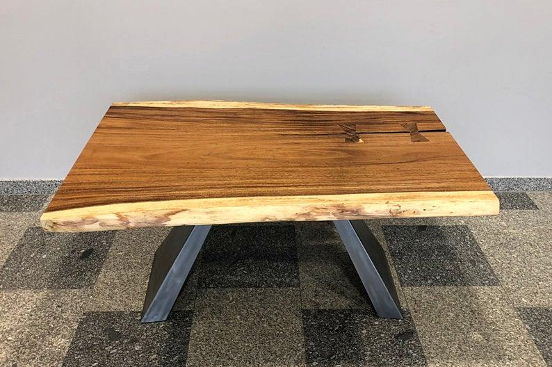 Деревянный стол & Quot Santos & Quot | Живой край | Экзотический Промышленный стол | Обеденный стол из экзотических пород древесины | Металлические ножки | деревянные горбыль | промышленный обеденный стол