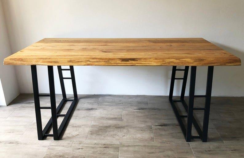 Деревянный стол & Quot Глен & Quot | Дубовый стол | Промышленный стол | Живой край | Обеденный стол Гостиная | Конференция | Металлические ножки | McKapka