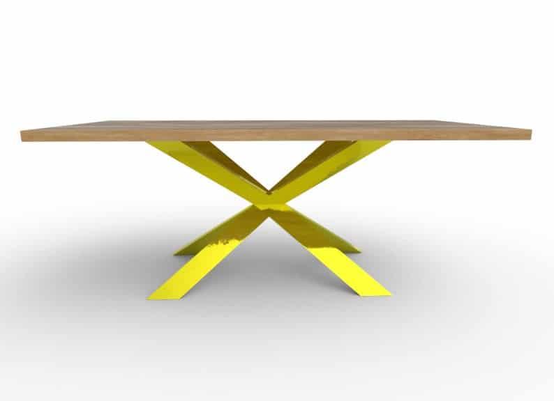 Xavier - Обеденный стол - Шпон или массива дерева (дуб, сосна, орех) - Металлические ноги